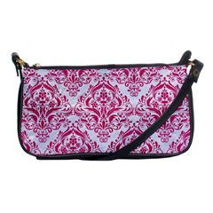Damask1 White Marble & Pink Leather (r) Shoulder Clutch Bags by trendistuff