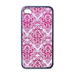 Damask1 White Marble & Pink Leather (r) Apple Iphone 4 Case (black) by trendistuff