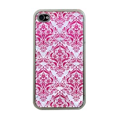 Damask1 White Marble & Pink Leather (r) Apple Iphone 4 Case (clear) by trendistuff