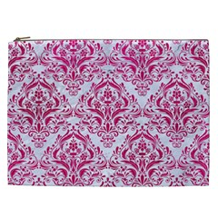 Damask1 White Marble & Pink Leather (r) Cosmetic Bag (xxl)  by trendistuff
