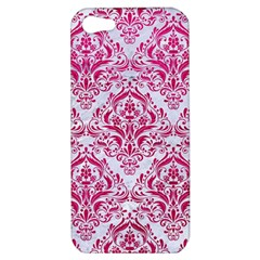 Damask1 White Marble & Pink Leather (r) Apple Iphone 5 Hardshell Case by trendistuff