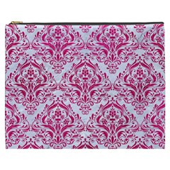 Damask1 White Marble & Pink Leather (r) Cosmetic Bag (xxxl)  by trendistuff