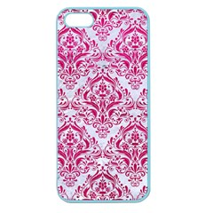 Damask1 White Marble & Pink Leather (r) Apple Seamless Iphone 5 Case (color) by trendistuff