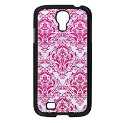 Damask1 White Marble & Pink Leather (r) Samsung Galaxy S4 I9500/ I9505 Case (black) by trendistuff