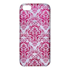 Damask1 White Marble & Pink Leather (r) Apple Iphone 5c Hardshell Case by trendistuff