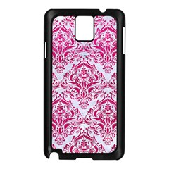 Damask1 White Marble & Pink Leather (r) Samsung Galaxy Note 3 N9005 Case (black) by trendistuff
