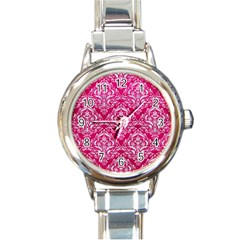 Damask1 White Marble & Pink Leather Round Italian Charm Watch by trendistuff