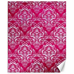 Damask1 White Marble & Pink Leather Canvas 16  X 20   by trendistuff