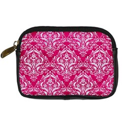 Damask1 White Marble & Pink Leather Digital Camera Cases by trendistuff