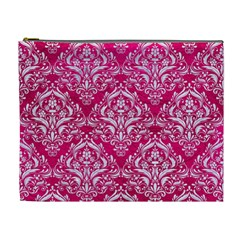 Damask1 White Marble & Pink Leather Cosmetic Bag (xl) by trendistuff
