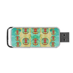 Peace Will Be In Fantasy Flowers With Love Portable Usb Flash (one Side) by pepitasart