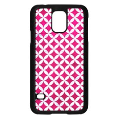 Circles3 White Marble & Pink Leather Samsung Galaxy S5 Case (black) by trendistuff
