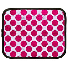 Circles2 White Marble & Pink Leather (r) Netbook Case (large) by trendistuff
