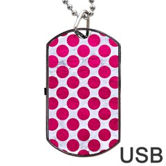 Circles2 White Marble & Pink Leather (r) Dog Tag Usb Flash (two Sides) by trendistuff