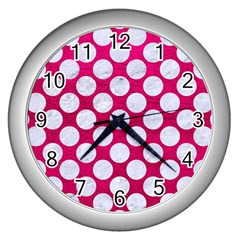 Circles2 White Marble & Pink Leather Wall Clocks (silver)  by trendistuff