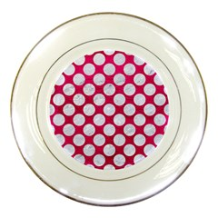 Circles2 White Marble & Pink Leather Porcelain Plates by trendistuff