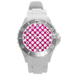 Circles2 White Marble & Pink Leather Round Plastic Sport Watch (l) by trendistuff