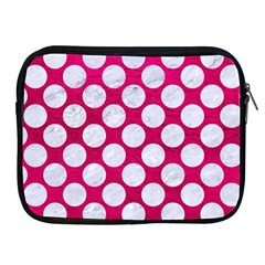 Circles2 White Marble & Pink Leather Apple Ipad 2/3/4 Zipper Cases by trendistuff