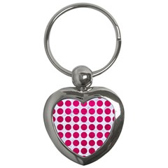 Circles1 White Marble & Pink Leather (r) Key Chains (heart)  by trendistuff
