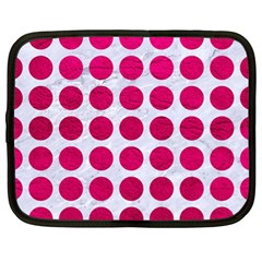 Circles1 White Marble & Pink Leather (r) Netbook Case (xl)  by trendistuff