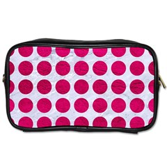 Circles1 White Marble & Pink Leather (r) Toiletries Bags 2 Side by trendistuff