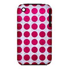 Circles1 White Marble & Pink Leather (r) Iphone 3s/3gs by trendistuff