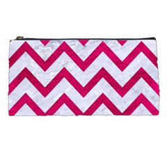 Chevron9 White Marble & Pink Leather (r) Pencil Cases by trendistuff