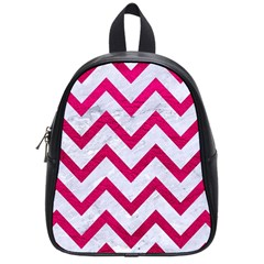 Chevron9 White Marble & Pink Leather (r) School Bag (small) by trendistuff