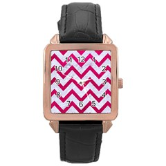 Chevron9 White Marble & Pink Leather (r) Rose Gold Leather Watch  by trendistuff