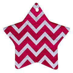 Chevron9 White Marble & Pink Leather Ornament (star) by trendistuff