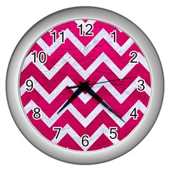 Chevron9 White Marble & Pink Leather Wall Clocks (silver)  by trendistuff
