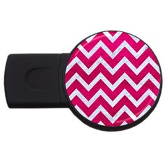 Chevron9 White Marble & Pink Leather Usb Flash Drive Round (2 Gb) by trendistuff