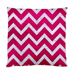Chevron9 White Marble & Pink Leather Standard Cushion Case (two Sides) by trendistuff