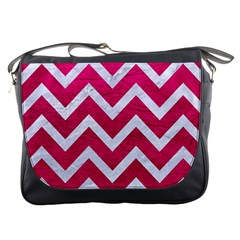 Chevron9 White Marble & Pink Leather Messenger Bags by trendistuff