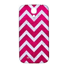 Chevron9 White Marble & Pink Leather Samsung Galaxy S4 I9500/i9505  Hardshell Back Case by trendistuff