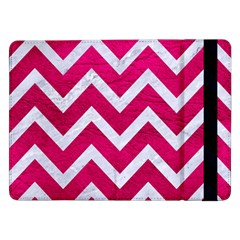 Chevron9 White Marble & Pink Leather Samsung Galaxy Tab Pro 12 2  Flip Case by trendistuff