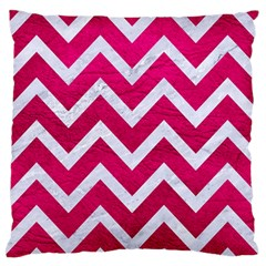 Chevron9 White Marble & Pink Leather Large Flano Cushion Case (two Sides) by trendistuff