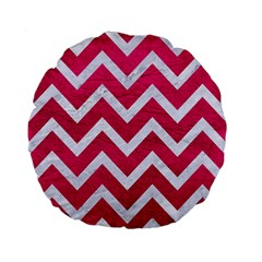 Chevron9 White Marble & Pink Leather Standard 15  Premium Flano Round Cushions by trendistuff