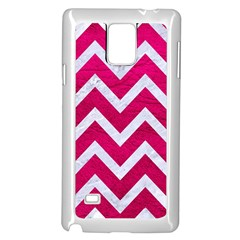 Chevron9 White Marble & Pink Leather Samsung Galaxy Note 4 Case (white) by trendistuff