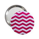 CHEVRON3 WHITE MARBLE & PINK LEATHER 2.25  Handbag Mirrors Front