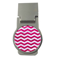 Chevron3 White Marble & Pink Leather Money Clips (round)  by trendistuff