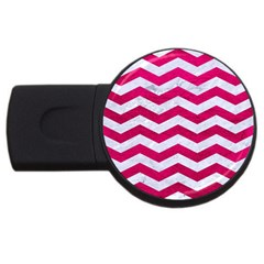 Chevron3 White Marble & Pink Leather Usb Flash Drive Round (4 Gb) by trendistuff