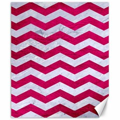 Chevron3 White Marble & Pink Leather Canvas 20  X 24