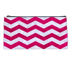 Chevron3 White Marble & Pink Leather Pencil Cases by trendistuff