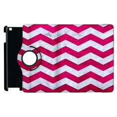 Chevron3 White Marble & Pink Leather Apple Ipad 3/4 Flip 360 Case by trendistuff
