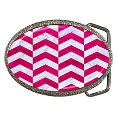 Chevron2 White Marble & Pink Leather Belt Buckles by trendistuff