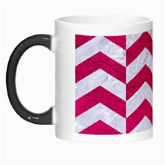 Chevron2 White Marble & Pink Leather Morph Mugs by trendistuff