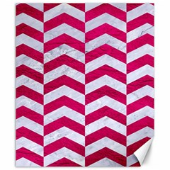 Chevron2 White Marble & Pink Leather Canvas 20  X 24