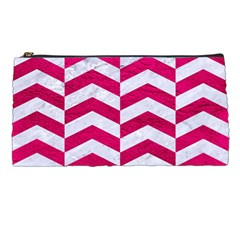 Chevron2 White Marble & Pink Leather Pencil Cases by trendistuff