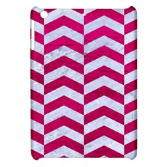 Chevron2 White Marble & Pink Leather Apple Ipad Mini Hardshell Case by trendistuff